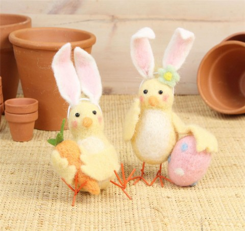Wool Mix Chick with Bunny Ears Easter Decorations- Set of Two