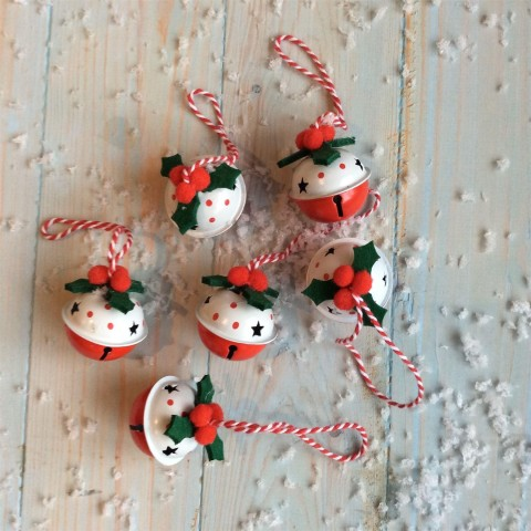 Red & White Jingle Bell Baubles