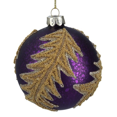 Purple Glass Christmas Tree Bauble with Gold Beaded Spiral Vine, 8cm