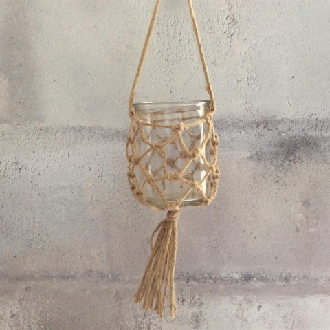 Glass with Jute Hanging Tealight Holder