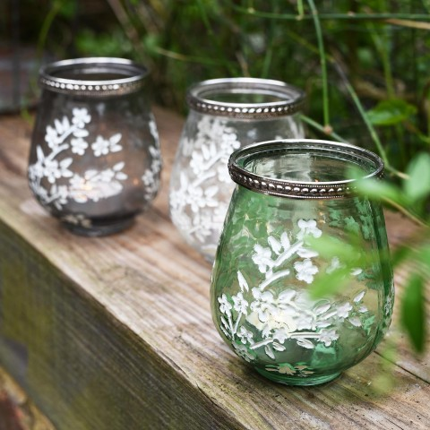 Clear Glass Blossom T-Lite Holder Small