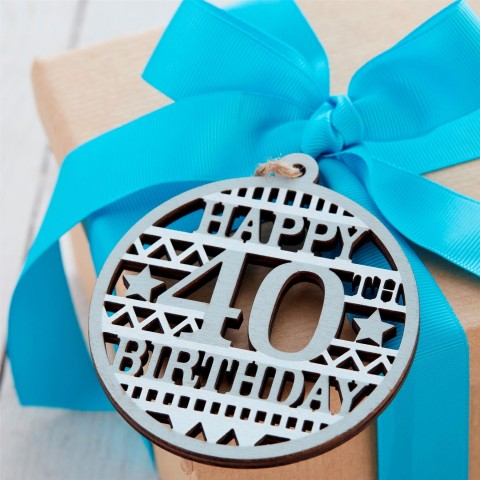 40th Birthday Wooden Tag