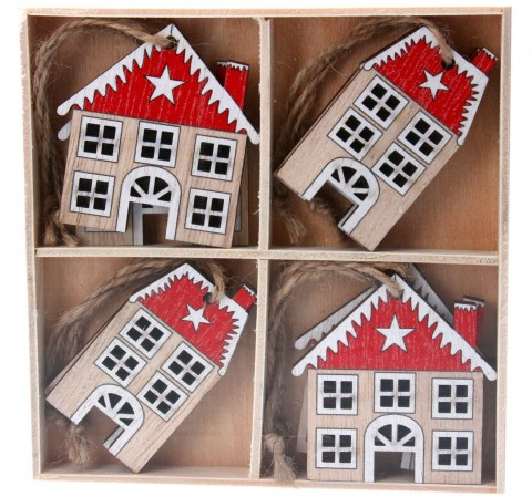 Box/8 Wood Decorations 6cm - Natural/Red House