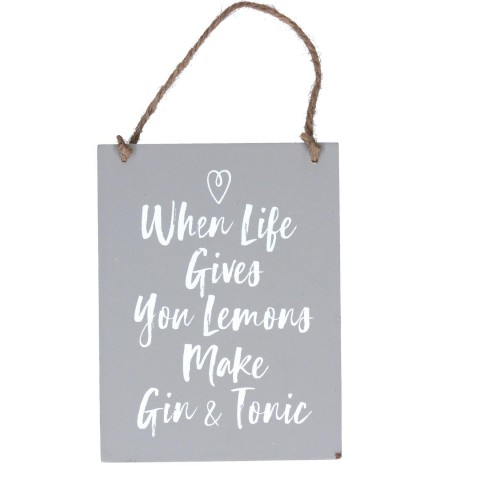 Grey Wood 'When Life Gives You Lemons' Sign