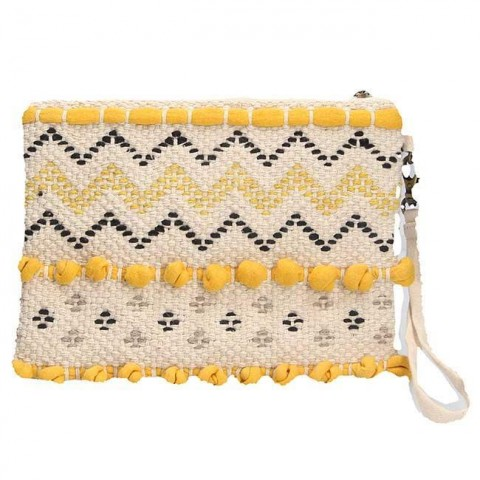 Mustard Woven Cotton Clutch Bag