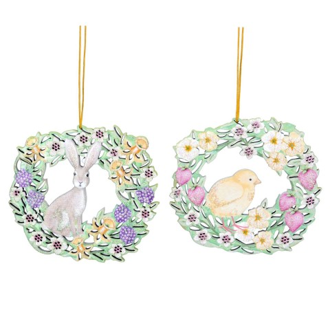 Set of 2 Fretwork Bunny and Chick Wreath Decorations