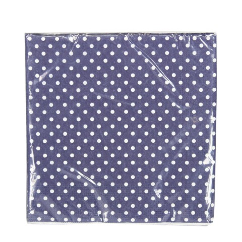 Blue Paper Napkins with White Spots