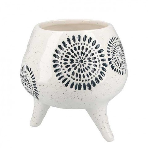 Sunburst Ceramic Footed Planter