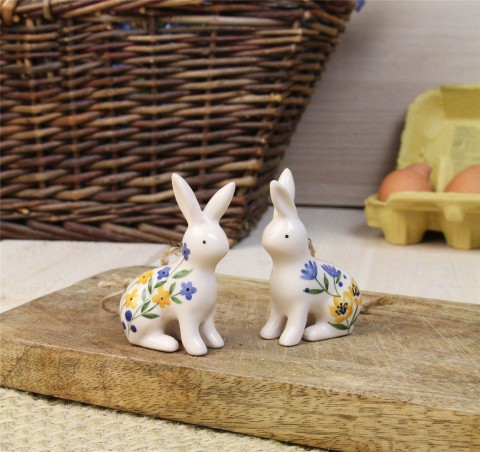Country Folk Ceramic Bunny Decorations