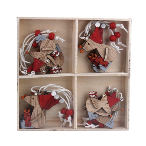 Box of 12 Scandi Style Mice Wooden Christmas Decorations, 13cm