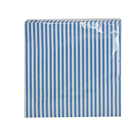 Blue & White Striped Paper Napkins