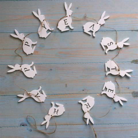 White Wood Happy Easter Bunny Garland