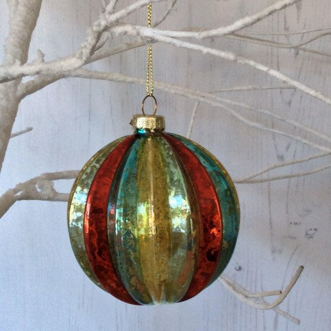 Antiqued Multi Colour Ribbed Bauble