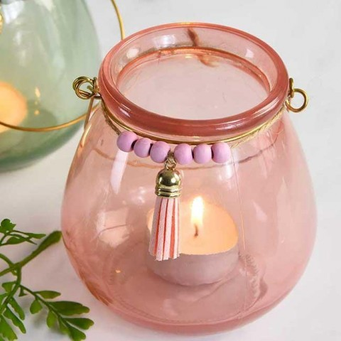 Pink Bead & Tassel Tea Light Holder