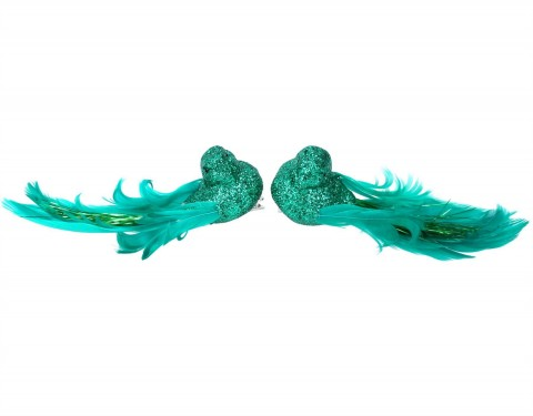 Set of 2 Clip On Birds 14cm - Green Glitter with Feathers