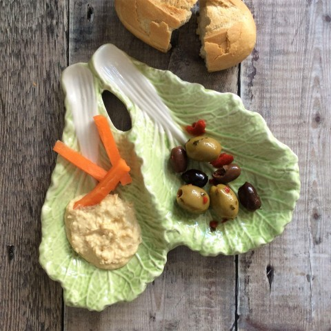 Cabbage Ceramic Twin Leaf Nibble Dish