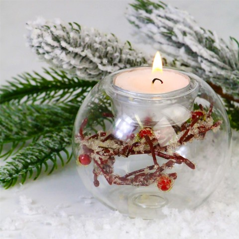 Glass Frosted Twig And Berry Tealight Holder