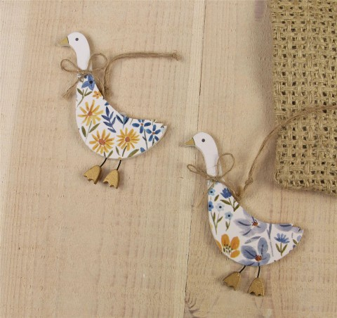Country Folk Wood Goose Decorations - Set of Two