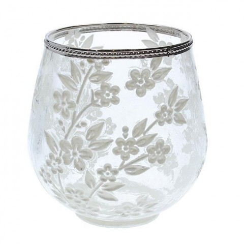 Clear Glass Blossom T-Lite Holder Large