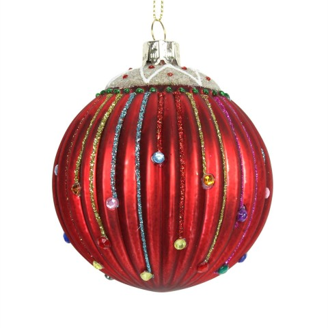 Red Ribbed Glass Christmas Tree Bauble with Multi Coloured Stripes, 8cm