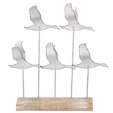 White Distressed Metal Flying Geese Ornament