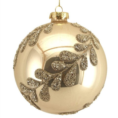 Large Gold Glass Christmas Bauble with Beaded Leaf Spiral, 12cm