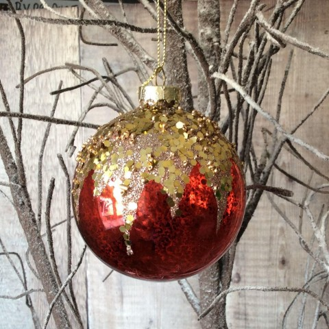 Red & Gold Crush Bauble