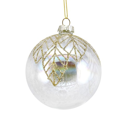 Clear Glass Christmas Bauble with Irridescent Finish and Gold Glitter Leaves, 8cm