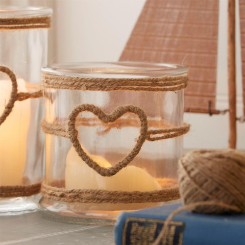 Rope Heart Candle Holder - Small