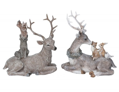 Set of 2 Resin Ornaments 16cm - Stag w Woodland Animals