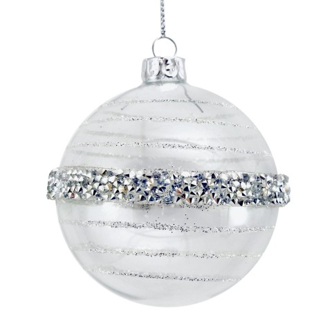 Clear Glass Christmas Tree Bauble with Beaded/Glittered Silver Bands, 8cm