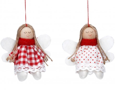 Set of 2 Fabric Decoration 9cm - Red/White Angel