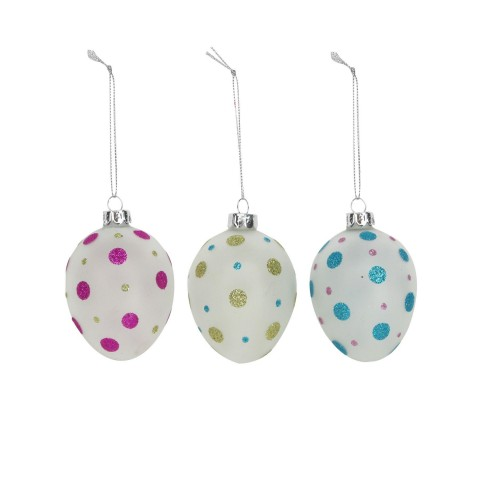 Opaque Glass Easter Egg with Glitter Polka Dots - Set of Three