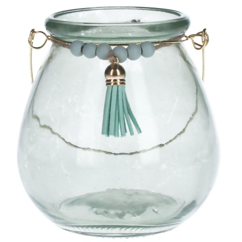 Green Bead & Tassel Tea Light Holder
