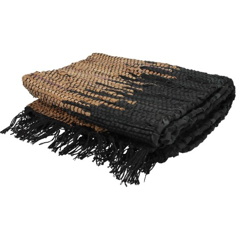 Black and Brown With Metallic Leather Rag Rug