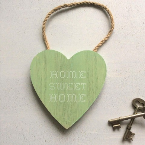 Green Home Sweet Home Wooden Heart