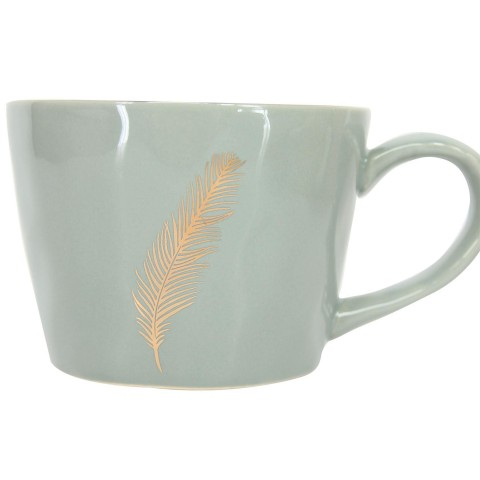 Sage Mug With Gold Feather