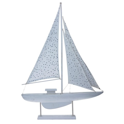 Spotty Wooden Sail Boat Ornament - Large