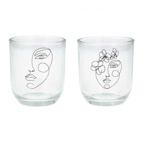 Set of 2 Abstract Face Tea Light Holders
