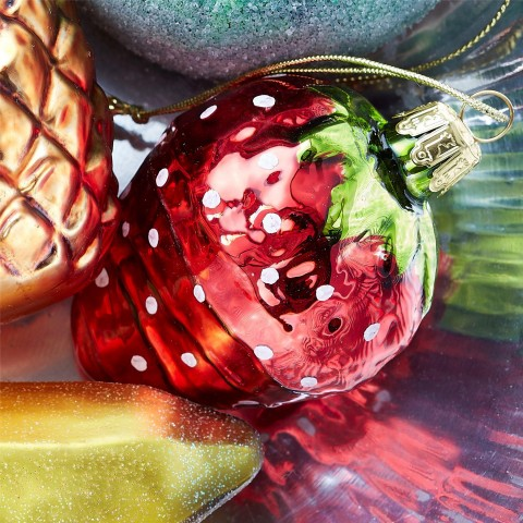 Glass Strawberry Bauble Decoration