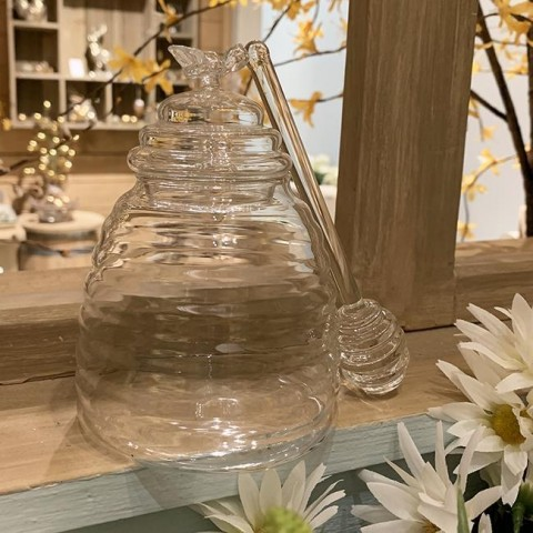 Glass Honey Pot with Drizzler