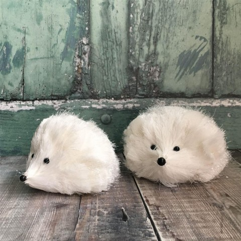 Set of Two White Hedgehog