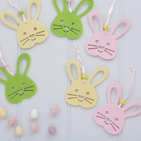 Set Of Six Easter Bunny Decorations