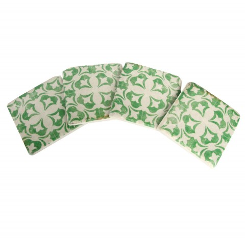 Green Mosaic Coasters - Set of Four