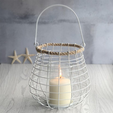White Rope Candle Holder - Large