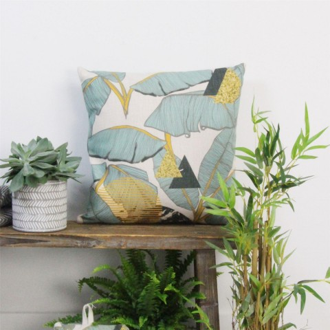Teal Palm Print Fabric Cushion