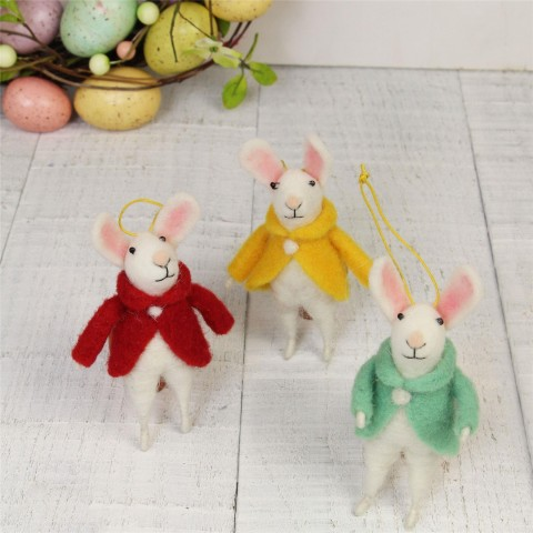 Wool Mix White Mouse With Coat Easter Decorations - Set of Three