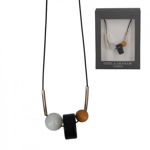 Perspex and Wood Mustard Bead Cord Necklace