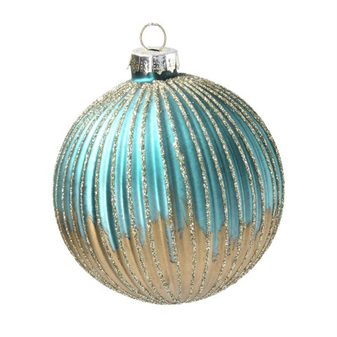 Glass Bauble 8cm - Turq/Gold Ribbed