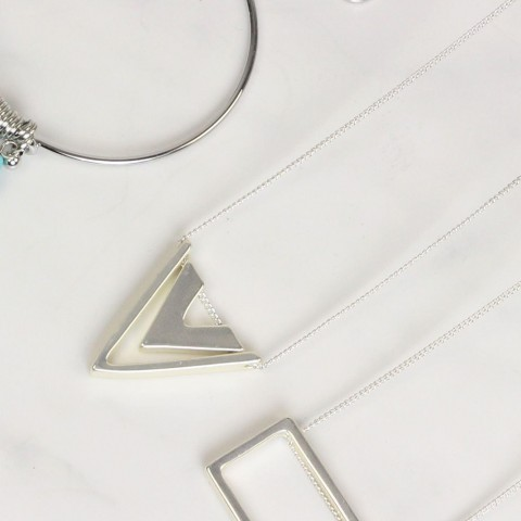 Silver Coloured Double Triangle Pendant Necklace